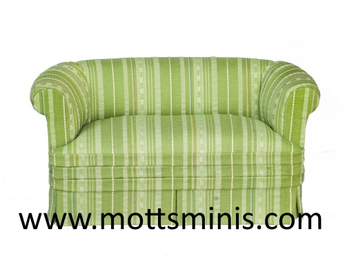 Contemporary Loveseat, Green, Dollhouse Miniature Furniture