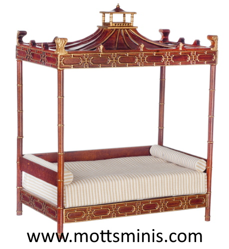 Chinese Canopy Bed, Walnut - Dollhouse Furniture