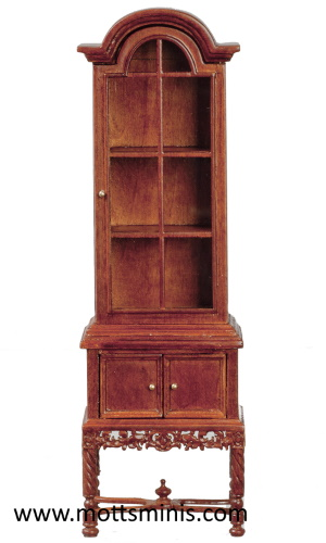 Colonial China Cabinet - Walnut - Dollhouse Furniture