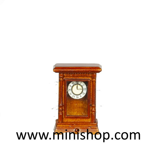 Battery Operated Carriage Clock/Walnut - Dollhouse Miniature