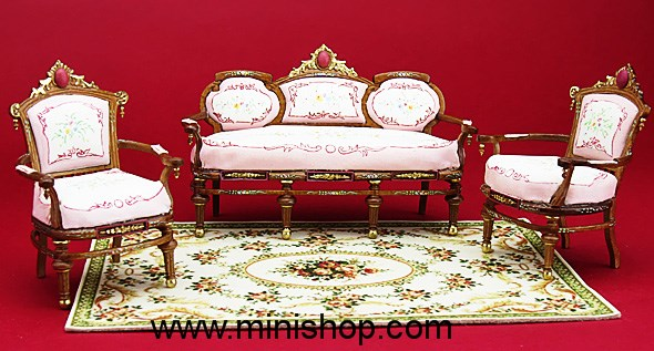 Hand Painted Pink Edwardian Parlor Set, Dollhouse Furniture