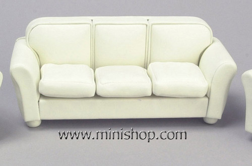 Off-White Leather Look Sofa - Dollhouse Furniture