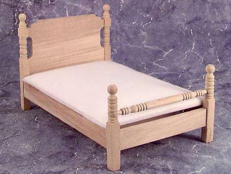Twin Bed, Unfinished (w/pad) - Dollhouse Miniature