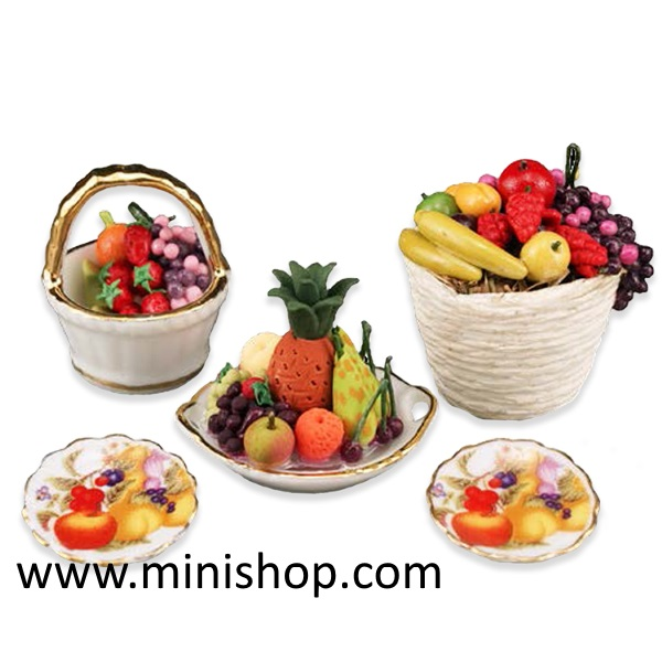 Deluxe Fresh Fruit Basket Set, Dollhouse Miniature