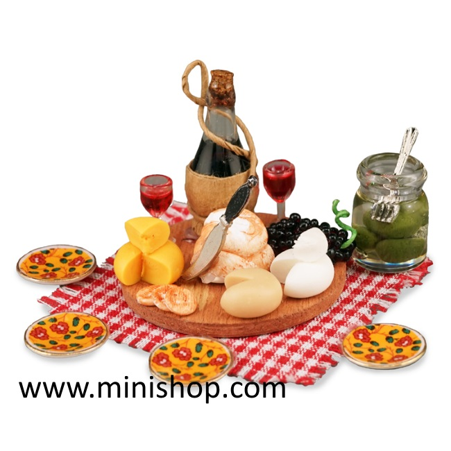 Deluxe Wine and Cheese Picnic Food Set, Dollhouse Miniature