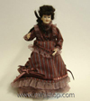 Lady in Cranberry Dress - Dollhouse Miniature