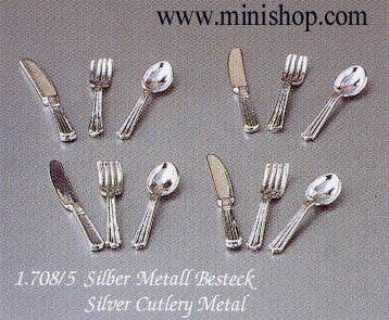 Silver Cutlery, 12pcs - Dollhouse Miniature