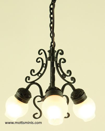 Chandelier, 3-Light, Black w/Frosted Globes, Replaceable Bulb
