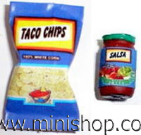 Bag of Taco Chips and Jar of Salsa - Dollhouse Miniature