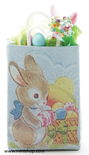 Easter Shopping Bag-Filled - Dollhouse Miniature